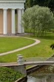 The rotunda and bridge in the park Stock Image