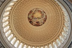United States Capitol Building, Washington, DC. In The Rotunda of the Capitol Building`s Capitol Dome is the Constantino Brumidi painting of `The Apotheosis of Stock Photography