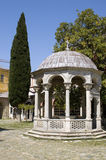 Rotunda and cypress, Monastery Iviron, Athos Royalty Free Stock Photo