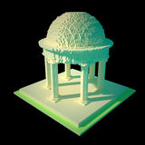 Rotunda - 3d art. 3d art of classic rotunda made in retro voxel style. Isolated on black background Royalty Free Stock Photos