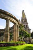 Rotunda of Jalisciences and Guadalajara Cathedral. Rotonda de los Jalisciences Ilustres and Cathedral in historic center in Guadalajara, Jalisco, Mexico Stock Images