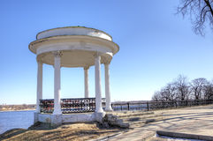 Rotunda on quay of Volga river. Stock Photo