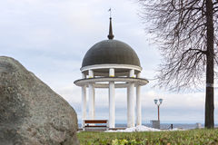 Rotunda on shore of lake in winter Royalty Free Stock Photos