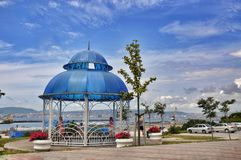 The rotunda with views of the port of Novorossiysk Stock Images