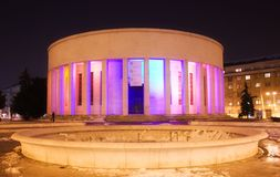 Rotunda in Zagreb. Symbol of Zagreb, illuminated Rotunda in the night Royalty Free Stock Images
