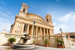 Rotundan av Mosta är en romare - katolsk kyrka i Mosta, Malta Arkivbilder