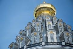 Rotundan av uppståndelsedomkyrkan i den nya Jerusalem kloster i Istra, Ryssland arkivfoton