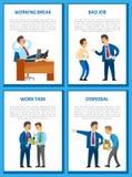 Rotura de funcionamiento en la oficina, hombre de negocios Relaxing libre illustration