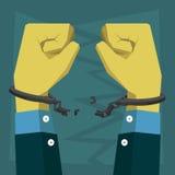 Rotura de la mano la cadena él llevó las esposas Foto de archivo libre de regalías