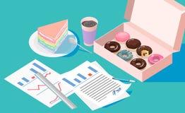 Rotura de la oficina y reclinación después de solucionar tarea con la torta del crepé de la caja del buñuelo y la taza de café ilustración del vector