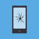 Rotura del teléfono aislada de fondo azul libre illustration