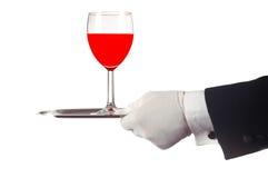 Rotwein auf Tellersegment stockfotografie