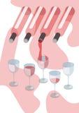 Rotwein, der in Weinglas gießt vektor abbildung