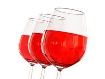 Rotwein in einem Glas Stockfotografie