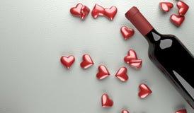 Rotwein-Flasche mit Bündel roten Herzen Vektor Abbildung