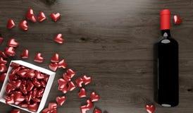 Rotwein-Flasche mit geöffneter Geschenkbox voll roten Herzen Lizenzfreie Abbildung