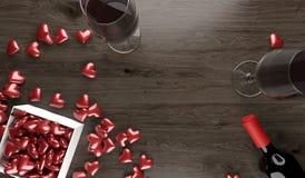 Rotwein-Flasche und zwei Wein-Gläser mit geöffneter Geschenkbox voll roten Herzen Lizenzfreie Abbildung