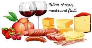 Rotwein mit Fleisch und Käse lizenzfreie abbildung