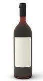 Rotwein mit unbelegtem Kennsatz. Stockfoto