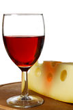 Rotwein und Käse Stockbild