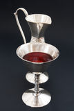 Rotwein und Silber Stockfoto