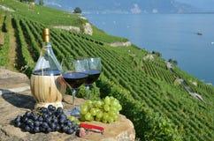 Rotwein und Trauben auf der Terrasse des Weinbergs in Lavaux Region, Stockfoto