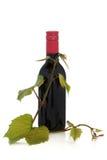 Rotwein-und Trauben-Blätter Stockfotografie