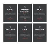 Rotweinaufkleber Erstklassiger Schablonensatz des Vektors Sauberes und modernes Design Pinot Noir, Malbec, Cabernet Sauvignon, Me Stockfotografie