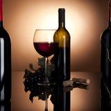 Rotweinflasche, -glas und -trauben Stockbild