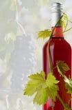 Rotweinflasche mit Reben Lizenzfreie Stockfotos