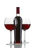 Rotweinflasche und -gläser Stockfotos