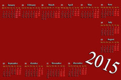 Rotweinkalender für 2015-jähriges mit Platz für Bild Lizenzfreie Stockfotografie
