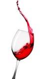 Rotweinspritzen lokalisiert auf weißem Hintergrund Lizenzfreie Stockfotos