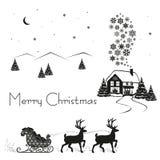 Rotwild gefahrener Schlitten von Santa Claus mit Geschenken, schwarzes Schattenbild auf weißem Schnee, Vektorillustration stock abbildung