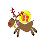 Rotwild mit einem Geschenk in Form einer komischen Illustration Zeichnen für eine Weihnachtskarte Lizenzfreie Stockfotos