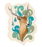 Rotwild mit Lampen auf Hornillustration Lizenzfreie Stockfotografie