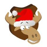Rotwild mit Weihnachtsmann-Hut Stock Abbildung