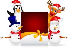 Rotwild, Pinguin und Schneemann mit leerem Zeichen lizenzfreie abbildung