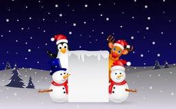 Rotwild, Pinguin und Schneemann mit leerem Zeichen stock abbildung