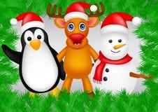 Rotwild-, Pinguin- und Schneemannweihnachten vektor abbildung