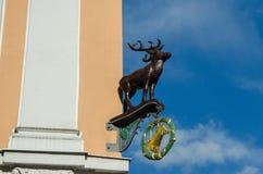 Rotwild stellen auf der Ecke des Gebäudes in Gorlitz, Deutschland dar Lizenzfreie Stockfotos