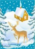 Rotwild und das Winterhaus Lizenzfreie Stockfotografie