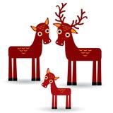 Rotwild und Kitz Satz lustige Tiere mit Jungen auf weißem Hintergrund Vektor Stockfotos
