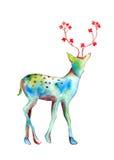 Rotwildaquarell malend abstrakt mit Blume am Horn; lokalisierte Zeichnung auf weißem Hintergrund Lizenzfreie Stockfotografie