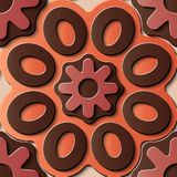 Rou för kurva för sömlös modell för lättnadsskulpturgarnering retro röd vektor illustrationer