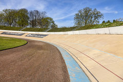Roubaix Velodrome. Roubaix,France- April 5, 2014:Image of the outdoor velodrome in Roubaix in North of France, the place where the most faomus one day cycling Royalty Free Stock Photos