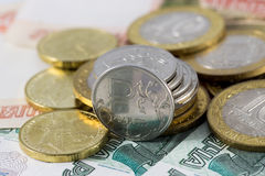 Rouble coins. With ruble sign Royalty Free Stock Image