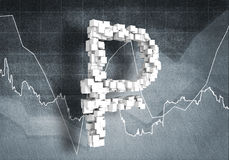 Rouble currency rate, 3D rendering Royalty Free Stock Photo