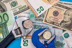 Rouble d'euro et de dollar Photos stock