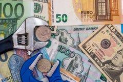 Rouble d'euro et de dollar Images stock